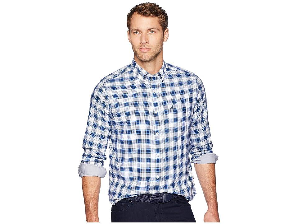 Nautica Long Sleeve Wear to Work Medium Plaid Woven Shirt (Bright White) Men