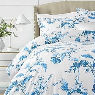 Pinzon Signature 190 Gram Cotton Heavyweight Velvet Flannel Duvet Cover Set, King, Floral Smoky Blue