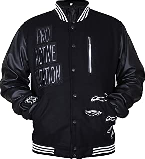 Fashion Club MENS VARSITY REAL LEATHER//WOOL LETTERMAN JACKET BLACK W//YELLOW LEATHER SLEEVES 2XL Regular