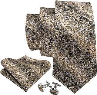 Barry.Wang Men Silk Tie Set Designer Abstract Necktie Pocket Square Cufflinks …