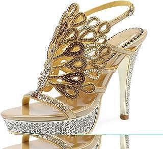 eab2cc2e0058f Honeystore Women s Peacock Rhinestones Platform Pumps Stiletto Heels Sandals  Shoes for Party