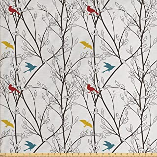 Ambesonne Nature Fabric by The Yard, Birds Wildlife Cartoon Like Image with Tree Leaf Art Print, Decorative Fabric for Upholstery and Home Accents, 3 Yards, Mustard Maroon