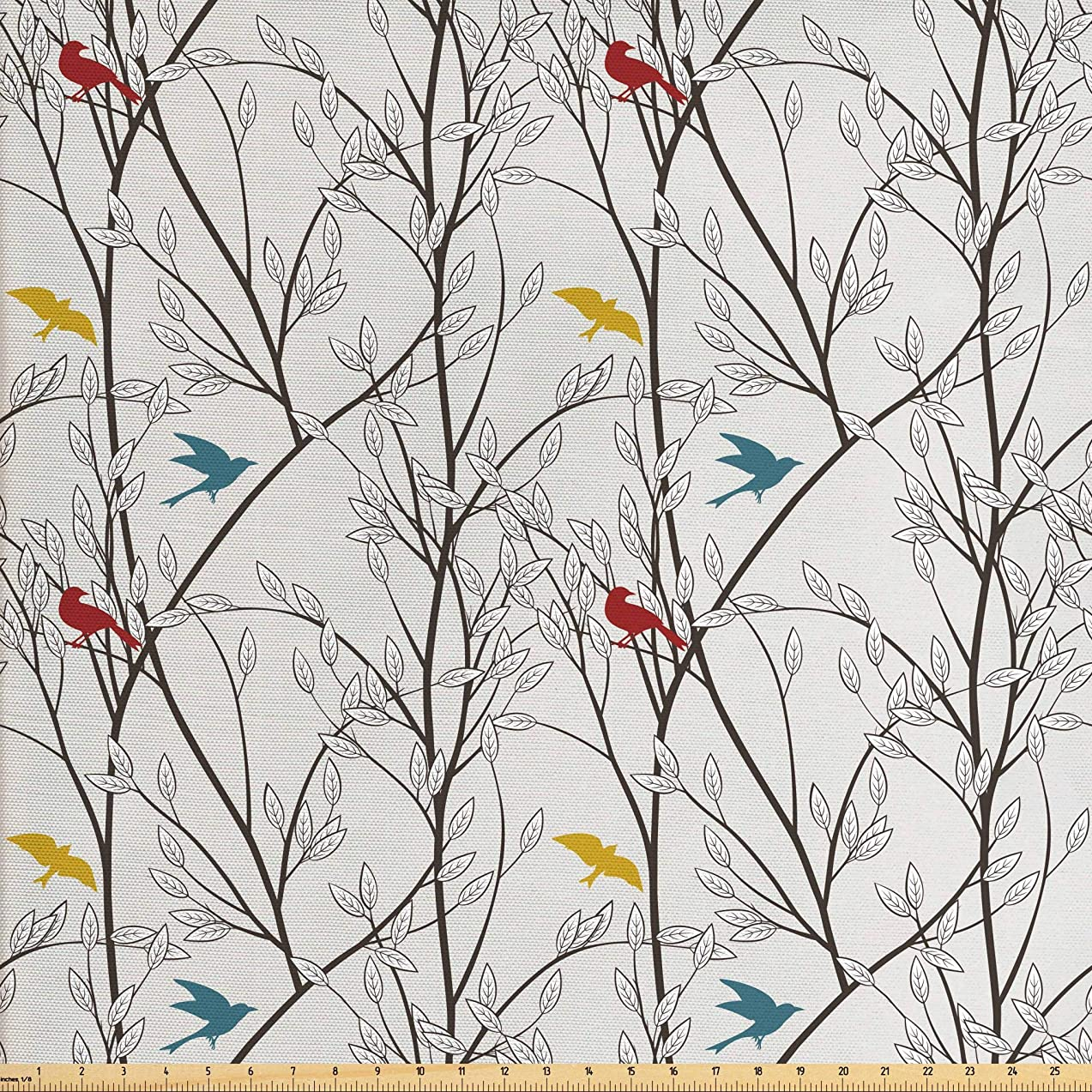 Ambesonne Nature Fabric by The Yard, Birds Wildlife Cartoon Like Image with Tree Leaf Art Print, Decorative Fabric for Upholstery and Home Accents, 2 Yards, Grey Maroon Blue and Mustard