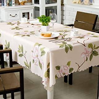 OstepDecor 100% Polyester Floral Print Tablecloth Waterproof Decorative Table Top Cover for Kitchen Dining Room End Table Protection - Square, 60