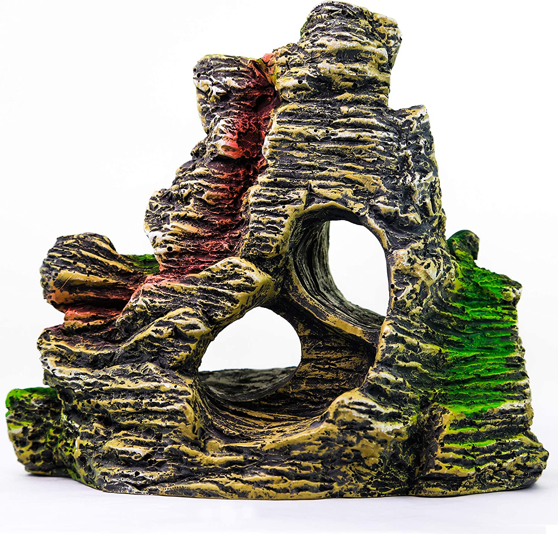 AQUA KT Aquarium Landscape Mountain View Cave Rock Decoration Fish Tank Ornament,Made of Resin