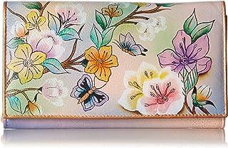 Anuschka Women's Handpainted Leather Multi-Pocket Wallet/Clutch,Japanese Garden