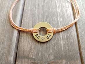 Couples Initials & Heart - Custom Hand Stamped Washer Bracelet - Brass Charm - Multiple Colors Available - Adjustable Band - 100% Waterproof