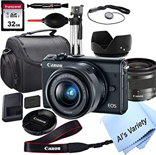 Canon EOS M100 Mirrorless Digital Camera with 15-45mm Lens + 32GB Card, Tripod, Case, and More (18pc Bundle)