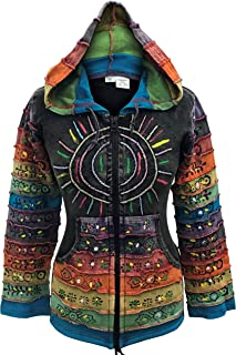 Women's Sun Patchwork Pixie Hippy Ribs Hoodie Faded Jacket