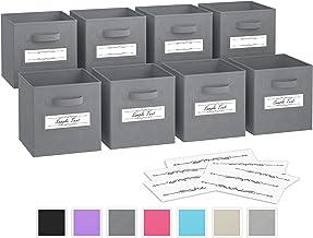 Royexe - Storage Cubes - (Set of 8) Storage Baskets | Features Dual Handles & 10 Label Window Cards | Cube Storage Bins | Foldable Fabric Closet Shelf Organizer | Drawer Organizers and Storage (Grey)
