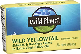 Wild Planet Wild Yellowtail Fillets in Organic Extra Virgin Olive Oil, Skinless &..