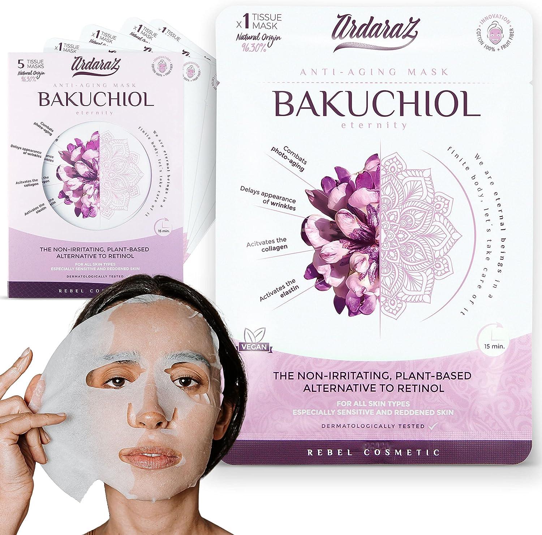Ardaraz - Mascarilla facial Hidratante Antioxidante y Rejuvenecedora, impregnada en Serum de Bakuchiol. Mascarillas faciales Pack de 5