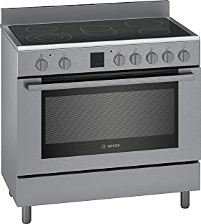 Bosch Serie | 8, 90X60 cm, 5 High Speed Ceramic Cooking Zones Electric Range Cooker, Stainless Steel - HKK99V850M, 1 Year Warranty