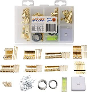 Stuff Planet Picture Hanging Kit (182-Piece Set) Heavy Duty, Drywall Metal Picture Hanger, Sawtooth Hanger, Measuring Tape, Bubble Level, Wire for Photo, Clock, Painting, Mirror