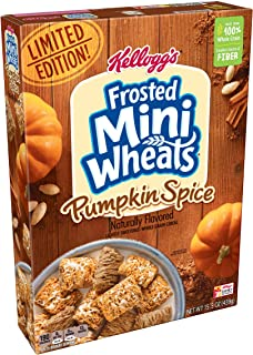 Kellogg's Breakfast Cereal, Frosted Mini-Wheats, Pumpkin Spice, Low Fat, Excellent Source of Fiber, Limited Edition, 15.5 oz Box