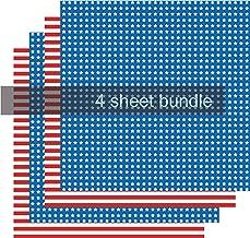 Flag Heat Transfer Vinyl Sheets, Pattern HTV Red White Blue, 4-12