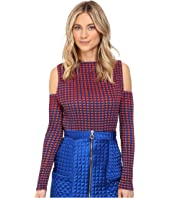 Kitty Joseph - Crepe Crystal Pleating Cold-Shoulder Top