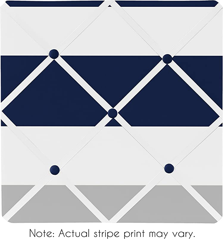 Sweet Jojo Designs Navy Blue Gray And White Fabric Memory Memo Photo Bulletin Board For Stripe Collection