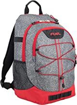 Fuel Terra Sport Spacious School Backpack with Front Bungee, Gray Static Dots Print/Poppy Red