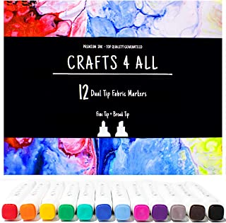 Fabric Markers Pens Permanent 12 Pack Dual Tip Minimal Bleed Rich Paint Color Pigment Fine Graffiti Fabric Pens by Crafts ...