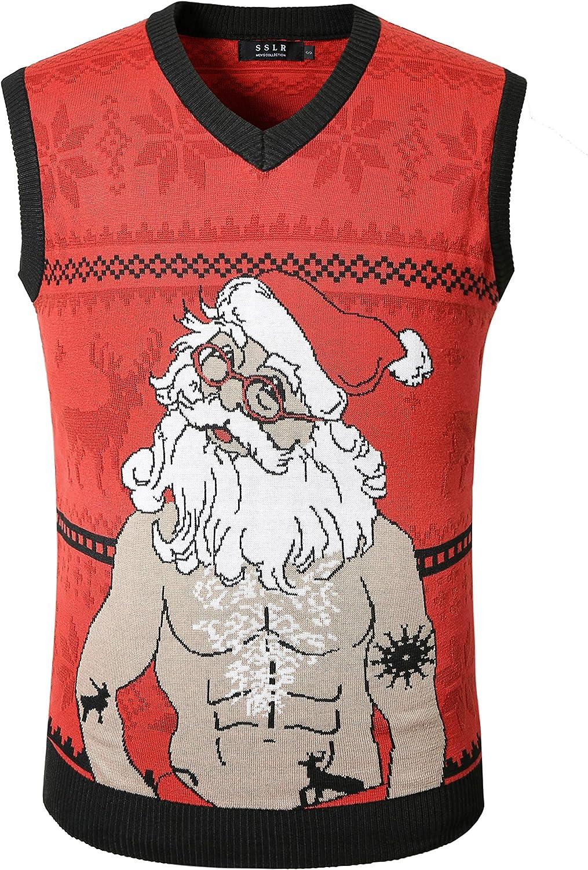 Popular popular SSLR Men's Funny Xmas NEW before selling Sleeveless V Pullover Neck Ug Vest Holiday
