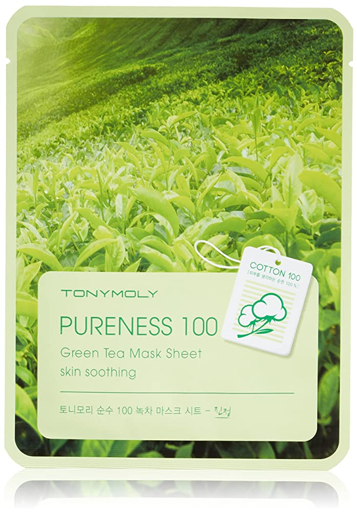 盆地十忠実なTONYMOLY Pureness 100 Green Tea Mask Sheet Skin Soothing (並行輸入品)