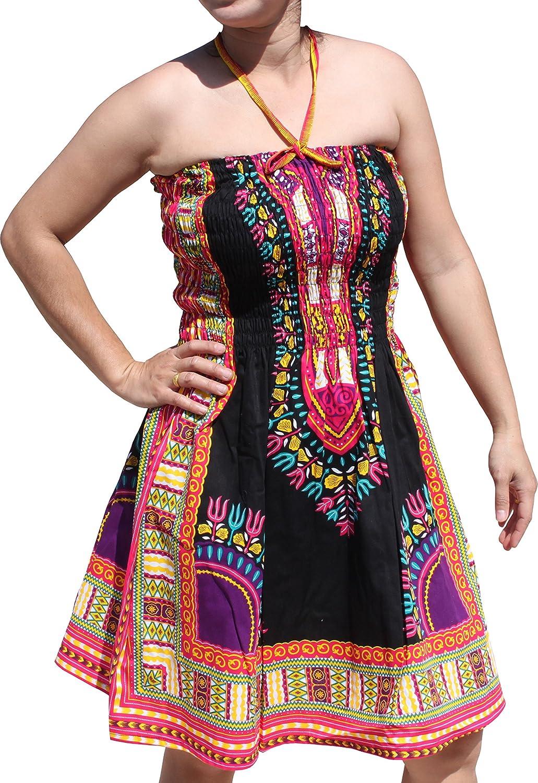 Raan Pah Muang Smock Bust Open Shoulder Dashiki Colour Halter Strap Dress or Skirt