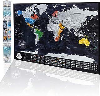 Mapa de viaje rayable con banderas, ciudades y capitales más grandes, tamaño XXL 84 x 57 cm, diseño de superficie de color original – Póster de mapa del mundo para rascar, fabricado en la EU