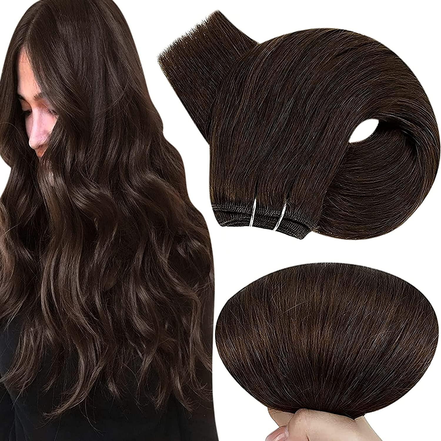 Hetto Brown Human Hair Weft Extensions H Inch 14 Sew 80g in Ranking List price TOP4