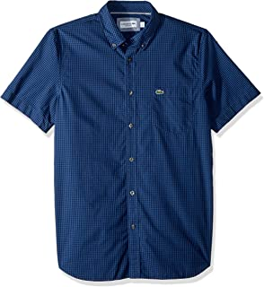 Lacoste Men's Short Sleeve Regular Fit Gingham Poplin Button Down