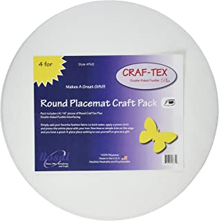 Craf-Tex Round Placemat Craft Pack-16 Round White 4/Pkg
