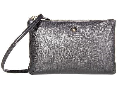 Kate Spade New York Polly Medium Double Gusset Crossbody (Black) Handbags