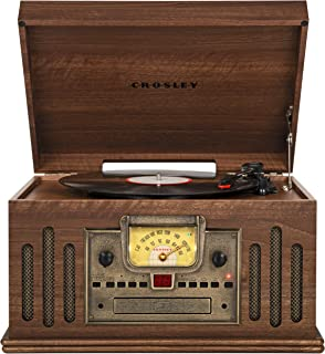 Crosley CR704B-WA Musician 3-Speed Turntable with Radio, CD/Cassette Player, Aux-in and Bluetooth, Walnut