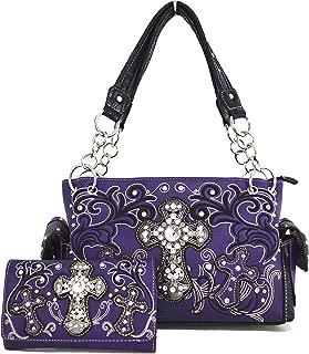 West Concealed Carry Rhinestone Cross Country Purse Handbag Messenger Shoulder Bag Wallet Set (Purple Set)
