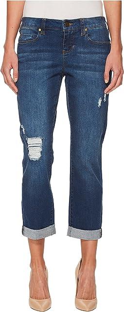 Petite Distressed Boyfriend Jeans in Montauk Mid Blue Dest/Indigo