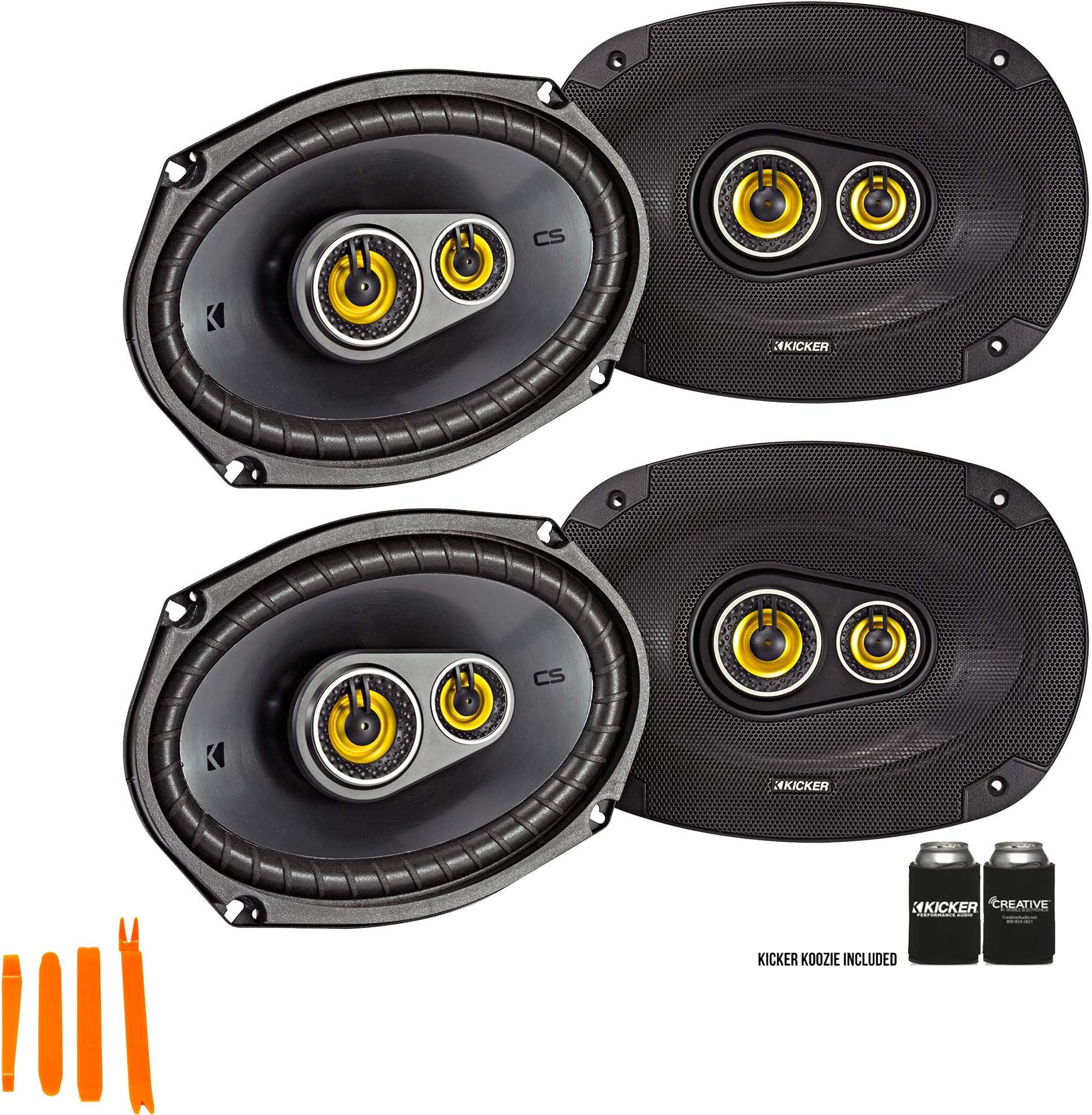Kicker 46CSC6934 - Two Pairs of CS-Series CSC693 6x9-Inch (160x230mm) 3-Way Speakers, 4-Ohm (2 Pairs)