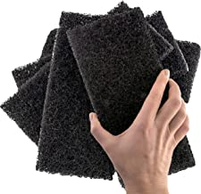 Heavy Duty XL Black Scouring Pad 5 Pack. 10 x 4.5in Large Multipurpose Nylon Scrubbing Sponges. Clean Bathrooms, Kitchens, Counters and Floors to Erase Grime and Make Surfaces Sparkle