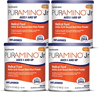 Puramino Junior Unflavored Hypoallergenic Formula with DHA - Amino Acid based for Severe Food Allergies - Powder Can, 14.1...
