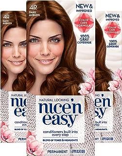 Clairol Nice'N Easy Hair Color Crème, 4R Dark Auburn, Pack of 3 (Packaging May Vary)