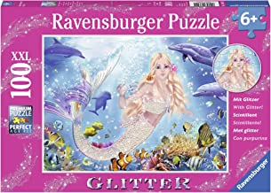 Ravensburger Mermaid and Dolphins Glitter 100 Piece Jigsaw Puzzle for Kids – Every Piece is Unique, Pieces Fit Together Perfectly