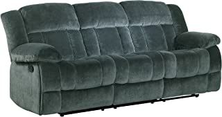 "Homelegance Laurelton 90"" Microfiber Double Reclining Sofa, Gray"