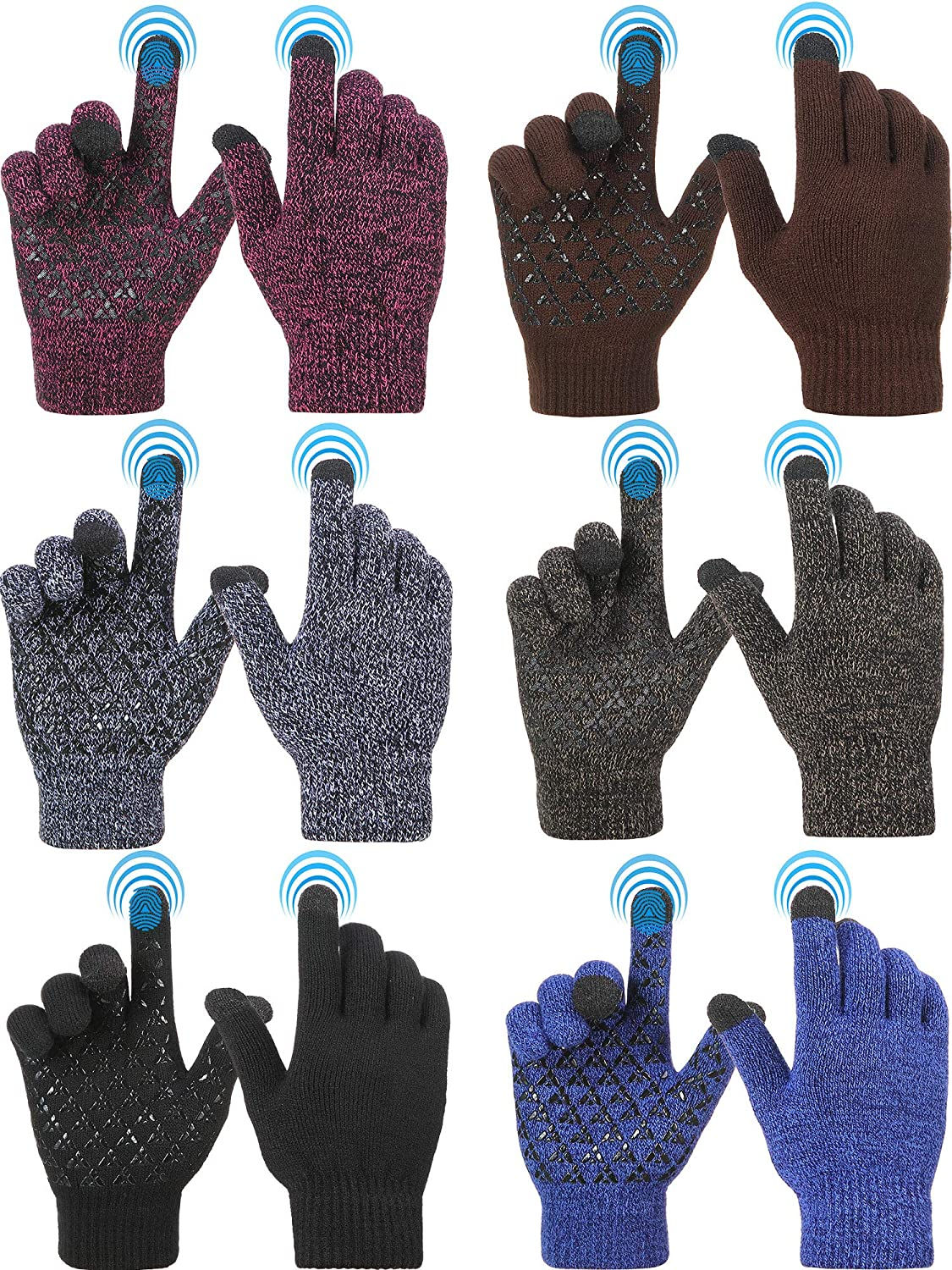 6 Pairs Touch Screen Gloves Winter Knit Touch Screen Mittens Warm Texting Gloves for Men and Women