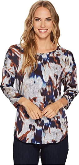 Tribal - Long Sleeve High-Low Printed Blouse