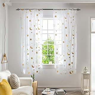 SEEKRIGHT Cute White Sheer Curtains for Kids Room - Star...