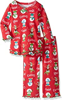 Sara's Prints Baby Girls Cozy Ruffled Relaxed Fit Pajama Set