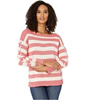 Long Sleeve Striped Boatneck Sweater with Lacing
