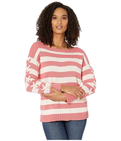 CeCe Long Sleeve Striped Boatneck Sweater with Lacing (Grapefruit) Women