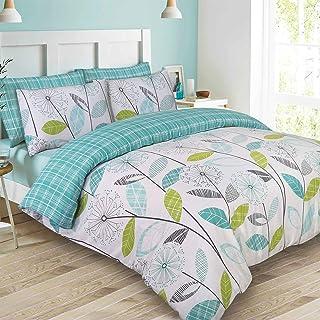 Dreamscene–lujo–Juego de cama con funda de almohada, poliéster/algodón, verde azulado, Super King