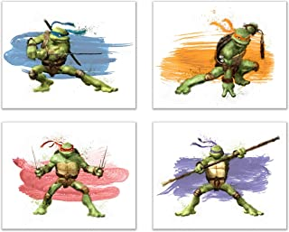 Teenage Mutant Ninja Turtles Wall Art Decor - Set of 4 Prints (8x10) - Poster Photos Watercolor - Michaelangelo, Leonardo, Raphael, Donatello