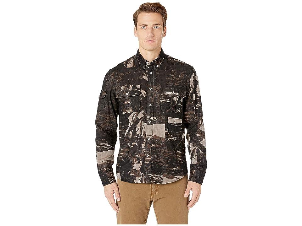 Image of Billy Reid Charles Shirt (Black/Brown) Men's Clothing